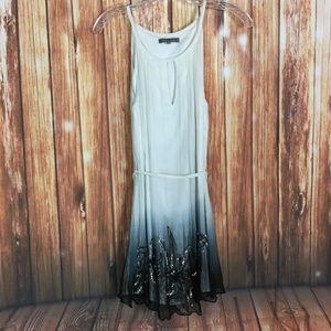 Gracia M Ombré Keyhole Beaded Sequin Floral Dress